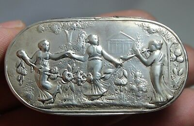 Antique Sterling Silver Musical Lady Snuff / Pill Box  38.5 Grams Circa 1800S