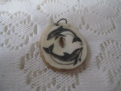 JILL Signed Scrimshaw Pendant on Bone of Two Porpoises or Dolphins