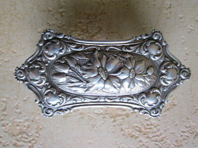Antique Edwardian Sterling Silver Glass Trinket Box