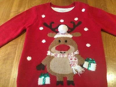Kids Age 7-8 Christmas Jumper From TU Light Up Nose