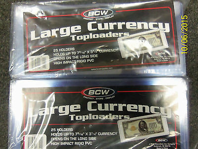50 Brand New LARGE Rigid Currency Holders...SUPER CLEAR