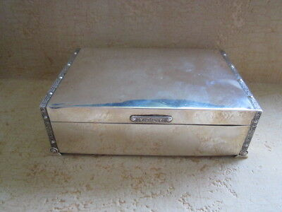 Large Art Deco Sterling Silver Cigarette Jewellery Box 640 Grms.
