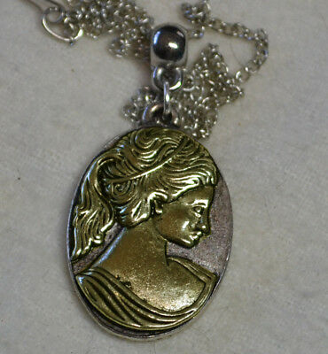 Vintage Sterling Silver 14k gold antique estate gorgeous Cameo pendant