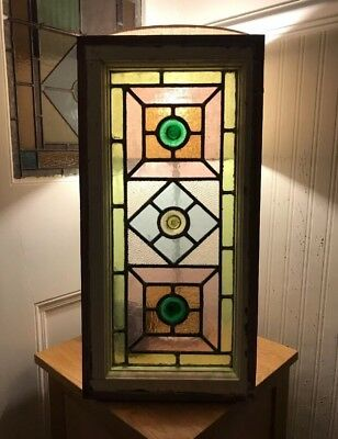 Original Antique Edwardian Stained Glass Leaded Window Side Fan Light  Victorian