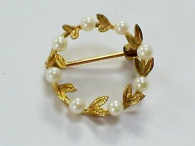 1990's LOVELY VINTAGE HM 9CT YELLOW GOLD & SEED PEARL WREATH BROOCH/PIN 2.6 g