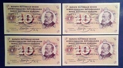 SWITZERLAND: 7 x 10 Francs Banknotes - Extremely Fine & Consecutive
