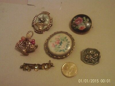 6 Broches fantaisies anciennes.