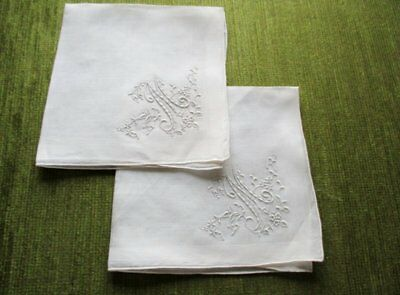 2 Antique Ladies Handkerchiefs-Hand Embroidered-Unused-Int.m
