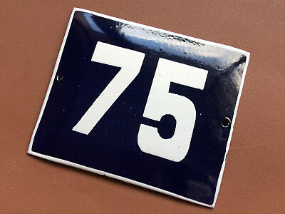 ANTIQUE VINTAGE ENAMEL SIGN HOUSE NUMBER 75 BLUE DOOR GATE STREET SIGN 1950's