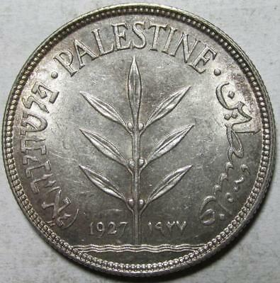 Palestine, 100 Mils, 1927, Choice Almost Uncirculated, .27 Ounce Silver