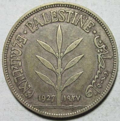 Palestine, 100 Mils, 1927, Toned Very Good, .27 Ounce Silver