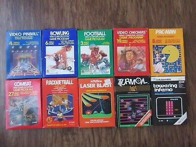 VINTAGE ATARI 2600 COMPLETE GAME LOT of 10 PAC-MAN SPORTS COMBAT boxes / manuals