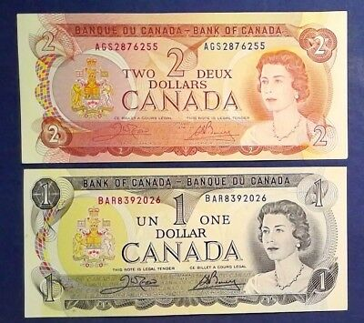 CANADA: Set of 2 Dollar Banknotes - Extremely Fine