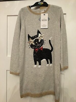 Marks and Spencer girls Cat Sequin dress & tights set 6-7 yrs M&S, BNWT, RRP £22