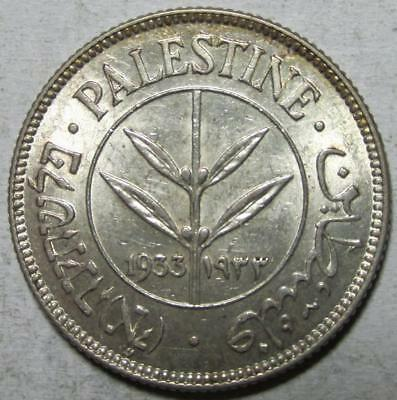 Palestine, 50 Mils, 1933, Almost Uncirculated w/Luster, .135 Ounce Silver