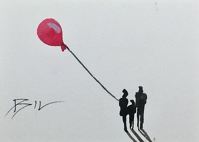 ACEO Original Art Watercolour Painting by Bill Lupton - Balloon and Family