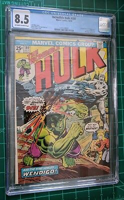 THE INCREDIBLE HULK #180 CGC 8.5 VF+ 1st  WOLVERINE in CAMEO OW/W pages