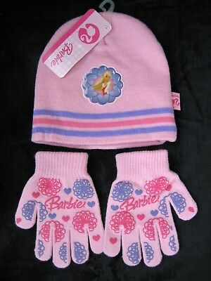 NWT BARBIE Knit HAT & Stretch GLOVES SET~One Size~Pink/PURPLE~Stocking/XMAS GIFT