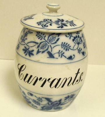 Large Antique German Pottery ~Blue Onion~ Storage Jar Currants Cannister