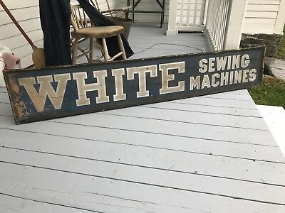 Antique Wooden Advertising Sign White Sewing Machines Blue Early Nice