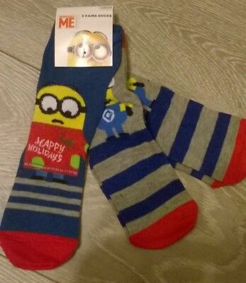 3 x Despicable Me Minion Christmas Xmas Socks Boys & Girl Size 6-8.5 9-12 12.5-3
