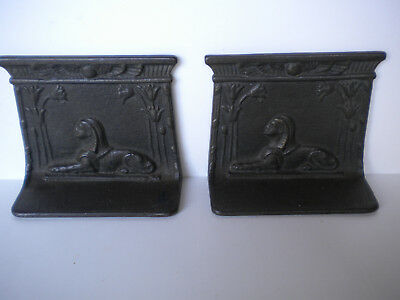 antique CAST IRON EGYPTIAN REVIVAL BOOKENDS Sphinx Low Relief Bradley Hubbard