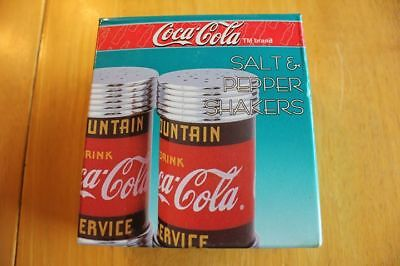"NEW Coca Cola Salt & Pepper Shakers 4"" Fountain Service Diner Collection #8931"