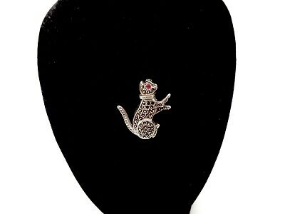Vintage Sterling Silver Marcisite Body Ruby Eyed Figural Cat Pin Brooch