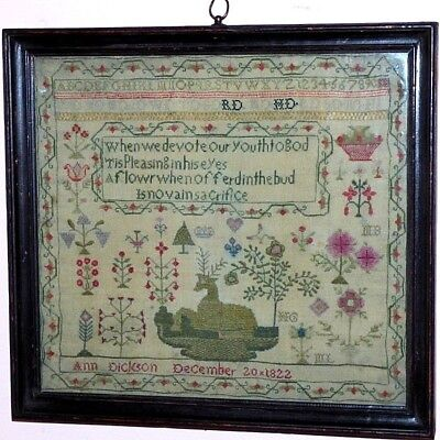 Early 19th Century Regency Sampler, Dated 1822