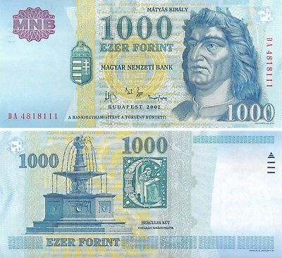 1000 forint 2002 Hungary UNC paper money banknote