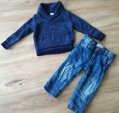 Impidimpi Paket Jungen Pullover Pulli + Thermohose Jeans Gr. 74 80 Top Zustand!