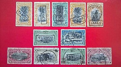 Belgian Congo - 1909-1911 issues overprinted with Taxes