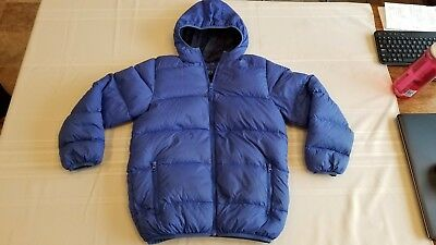 Triple Star Packable Down Fill Jacket Coat with Hood Youth Size M Blue
