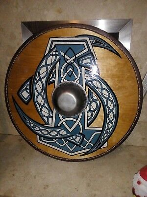 Hand crafted wooden viking shield
