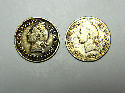Dominican Republic, 10 centavos, 1942 and 1951. Toned, full silver.