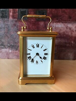 Beautiful Antique French Carriage Mantel Clock Gold Colour