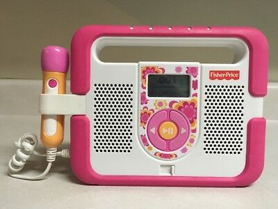 Fisher Price Kid Tough MP3 Music Player Microphone Karaoke Pink Stereo WORKS
