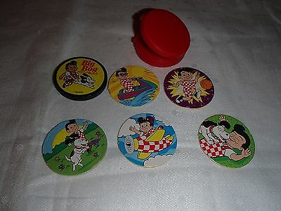 Collectible Set of Big Boy Restaurant & Bakery Round Pogs & Plastic Container