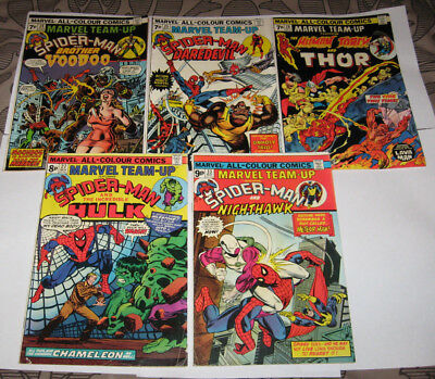 """Marvel Comics Spiderman """" Team Up """"  issues x 5 Stamp clipped"""