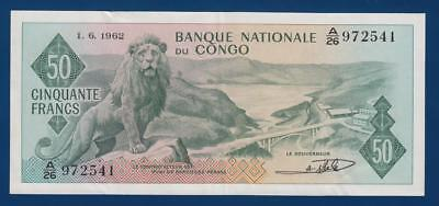 CONGO 50 Francs 1962 P5a billet de Banque Nationale du Congo lion bridge