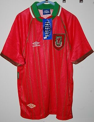 Umbro Wales Shirt 1994 New With Tag Vintage Football Jersey 90's