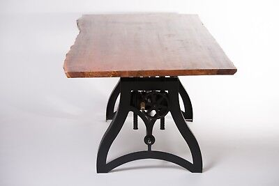 """80"""" Industrial Style Cast Iron Crank Table with Live Edge Acacia Wood Top"""