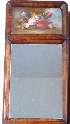 Antique Edwardian marquetry wood framed mirror with handpainted top panel