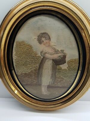 Georgian Silk & Wool Embroidered Picture of Girl with Flower Basket