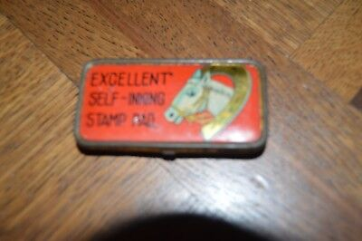 Vintage tin self inking stamp horse shoe collectable antique