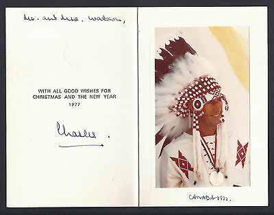 Prince Charles of Wales Signed Christmas Card Canada 1995 Native American Chief