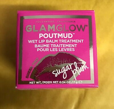 Glamglow Poutmud Wet Lip Balm Treatment Sheer Tint 'Sugar Plum' New In Box