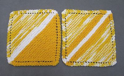 Lot of 2 New 100% Cotton Dishcloths Handmade Hand Knit Yellow White Striped