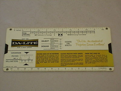 Vintage Da-Lite Lens Projection Screen Calculator-Movies/slides/overhead Proj.