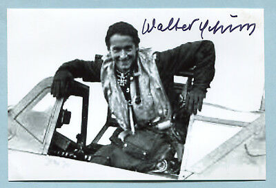 Luft Fighter Ace Knights Cross w/OL Signed Pic - Schuck